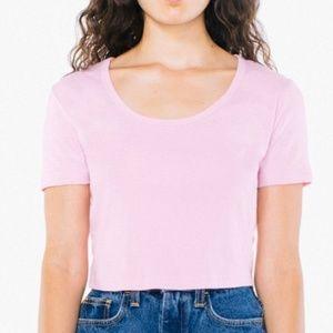 American Apparel Pink Baby Rib Crop T-shirt